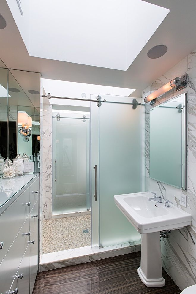 Cardinal Shower Doors   Contemporary Bathroom Also Bathroom Storage Built in Bathroom Dresser Double Sided Shower Frosted Glass Door Frosted Glass Shower Door Pedestal Sink Skylight Sliding Shower Door White Stone Wall