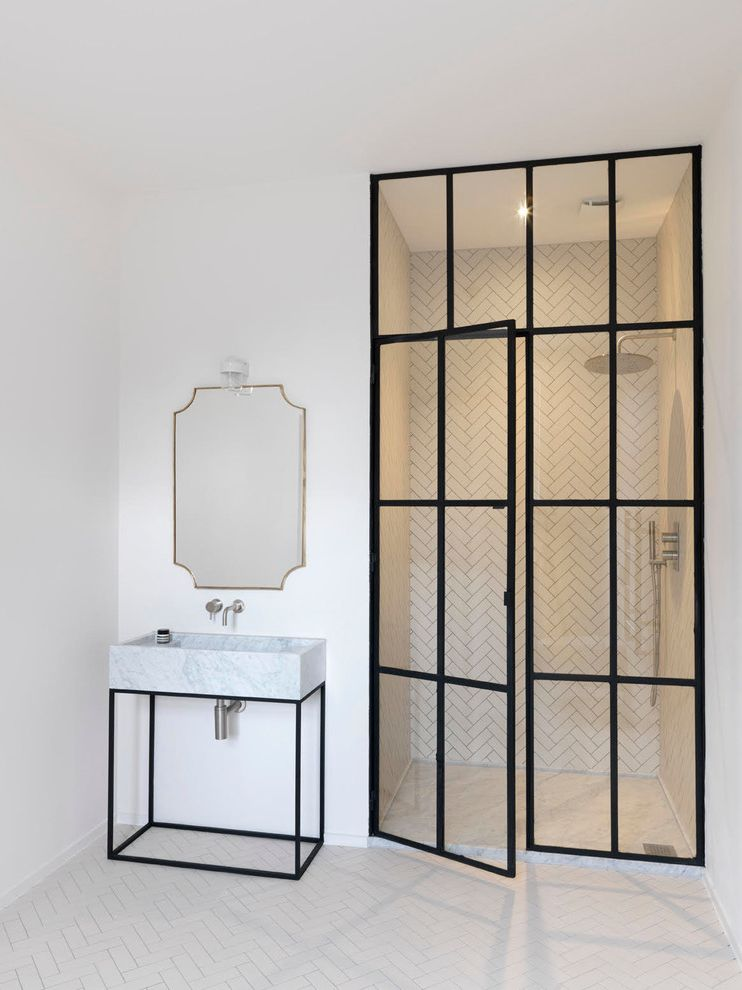 Cardinal Shower Doors with Contemporary Bathroom  and Black Glass Trim for Shower Black Vanity Gold Mirror Screened in Shower White Marble Sink