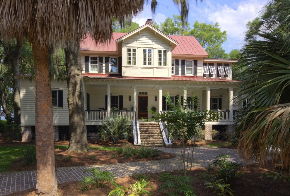 Chart House Philadelphia   Beach Style Exterior Also Awning Windows Brick Paving Entrance Entry Metal Roof Path Plantation Porch Red Roof Southern Standing Rib Roof Standing Seam Roof Traditional Vintage Walkway Window Shutters Wood Siding