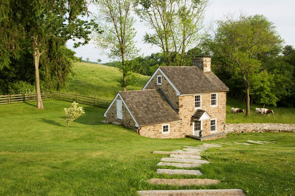 Chart House Philadelphia   Farmhouse Exterior  and Chimney Cottage English Cottage Fence Gable Roof Guest House Pool House Stone Work Landscape Lawn Shingle Roof Step Stone Stone Cottage Stone Exterior Stone Wall