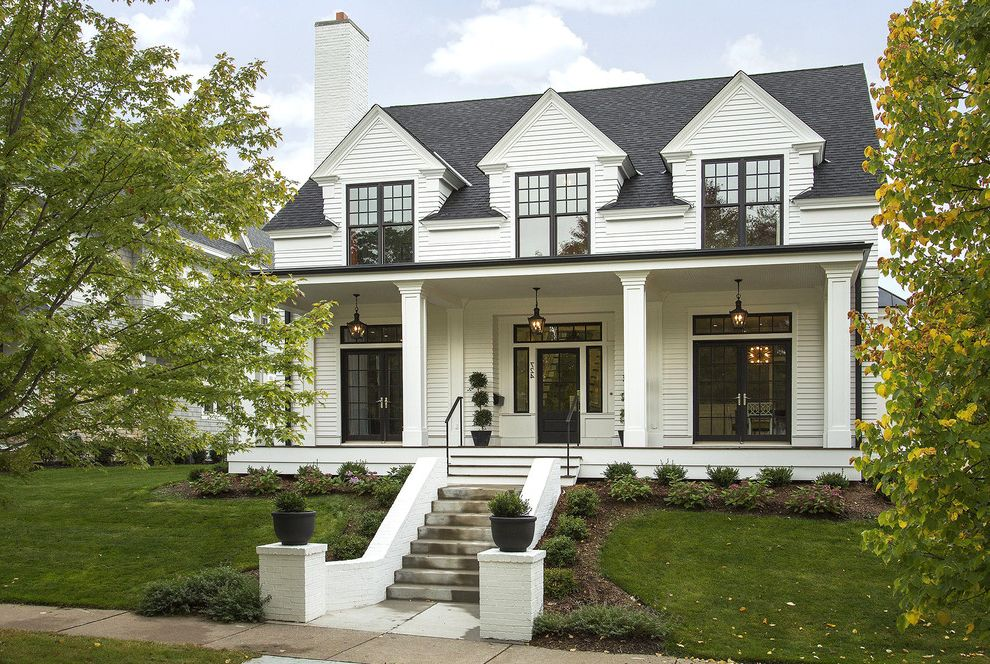 Chart House Philadelphia   Transitional Exterior Also Black and White Chimney Dormer Windows Entry Landscape Lawn Porch Porch Lighting Steps