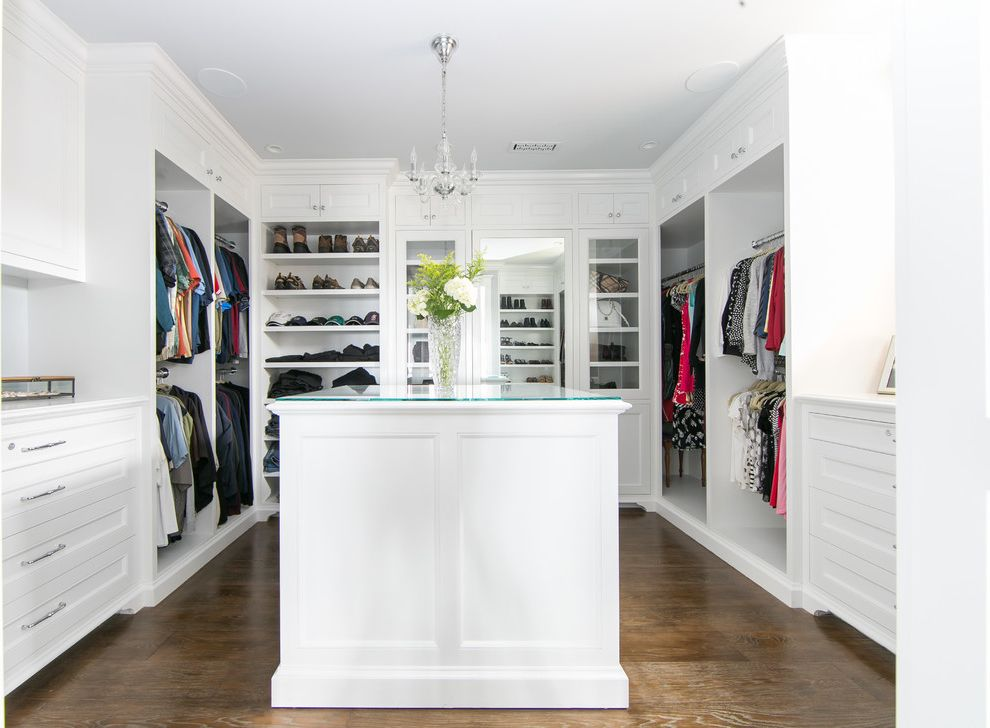 Closet in Spanish   Transitional Closet  and Chandelier Flowers Glass Table Top Shoe Rack Walk in Closet White Shelves White Walls