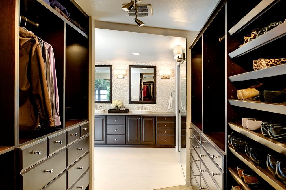 Closets to Go   Contemporary Closet Also Built in Storage Chrome Accessories Custom Cabinetry Custom Closet Dark Stained Cabinets Master Bath Master Suite Organization Shoe Racks Shoe Storage Track Light Walk in Closet