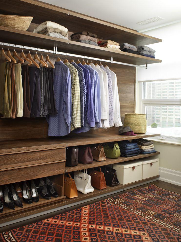 Closets to Go   Contemporary Closet Also Custom Closet Open Clothes Rack Pull Out Shoe Shelf Walk in Closet Walnut Walk in Closet Window in Closet Wood Floors Woven Rug