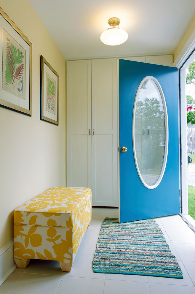 Closets to Go with Beach Style Entry Also Beach House Bench Seat Blue Door Botanical Artwork Bright Blue Ceiling Light Closet Coat Closet Entry Oval Window Storage Bench Storage Closet Upholstered Bench