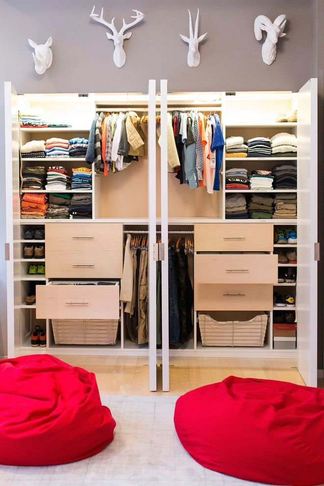 Closets to Go with Contemporary Closet  and Closet Drawers Gray Walls Red Bean Bag Chair White Animal Head White Closet Door