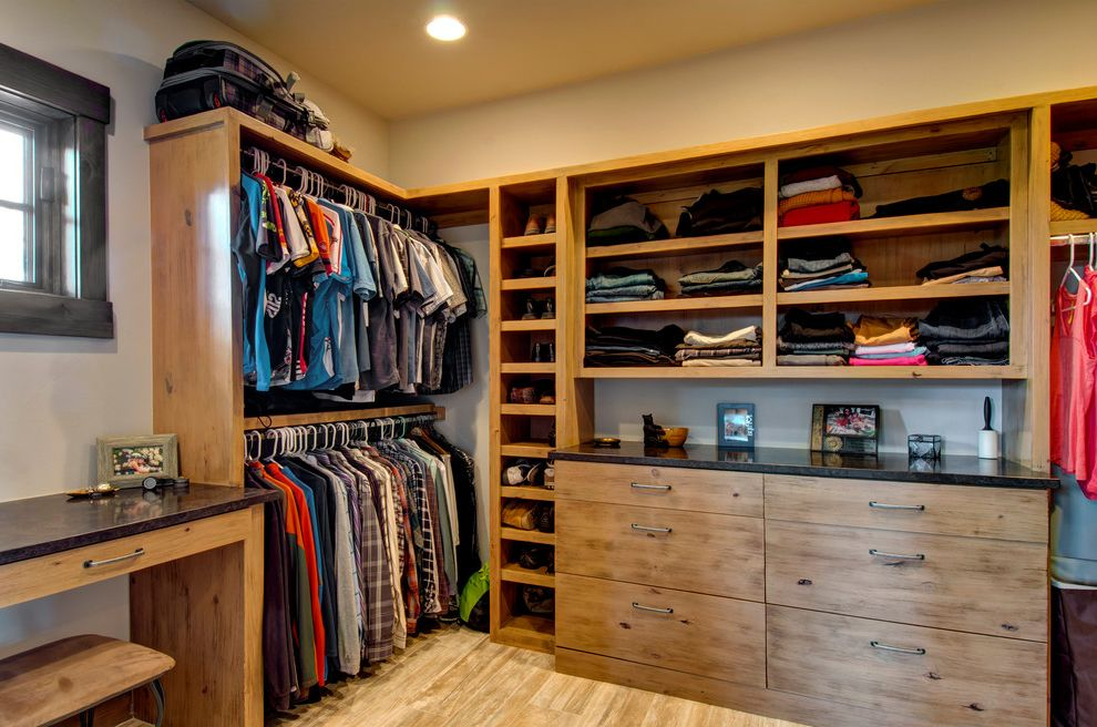 Closets to Go with Rustic Closet  and Blak Countertop Dark Wood Trim Mens Walk in Wardrobe Open Cabinets Open Shelves Recessed Lighting Walk in Closet Walk in Wardrobe Wardrobe Design