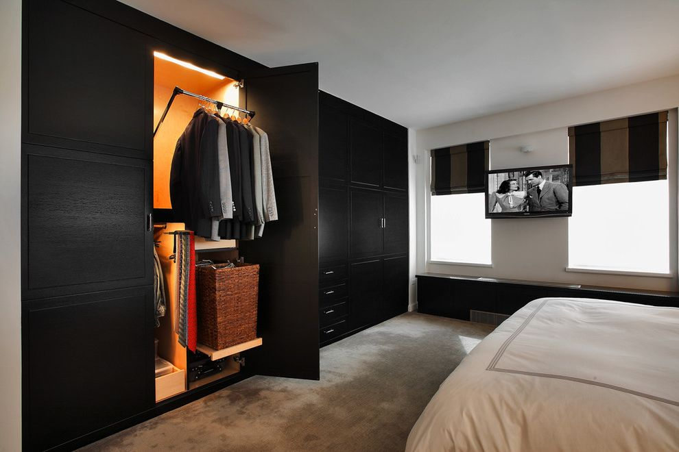 Closets to Go with Transitional Bedroom Also Black Furniture Built in Closet Closet Doors Closet Organizers Hotel Bedding Minimal Roman Shades Storage White Bedding Window Seat