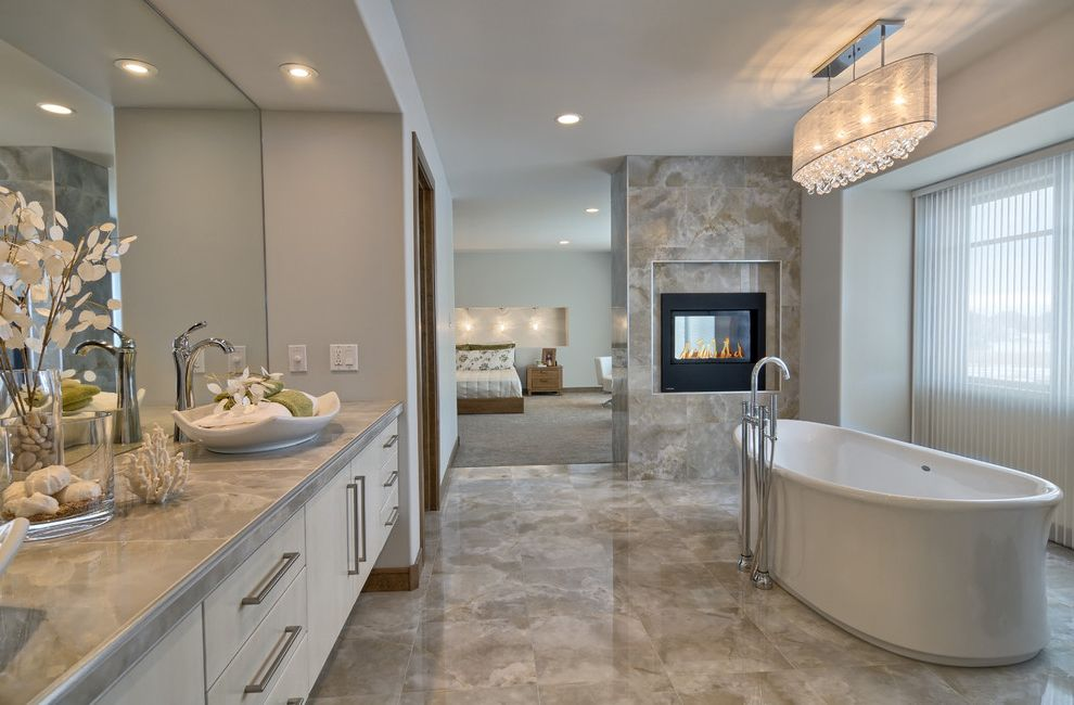 Concord Disposal with Contemporary Bathroom  and 2 Way Fireplace Fireplace in Bathroom
