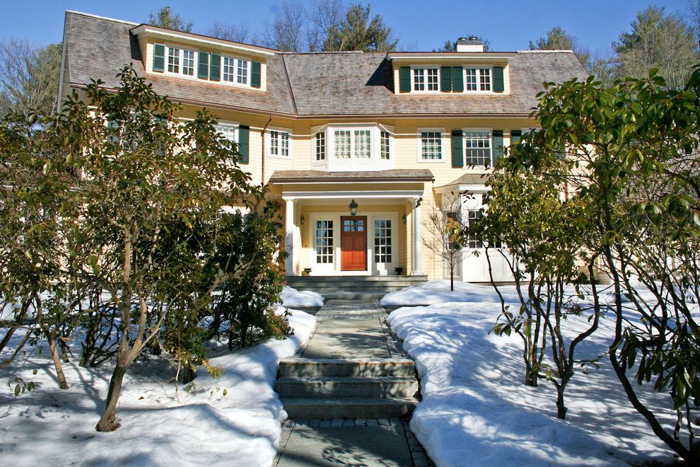 Concord Disposal with Traditional Exterior  and Bay Window Covered Porch French Window Front Entrance Front Porch Green Shutters Porch Shutters Yellow Exterior