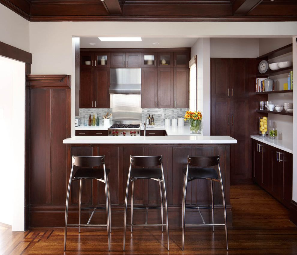 Costco Bar Stools with Contemporary Kitchen  and Bar Stool Brown Cabinet Cabinet Hardware Coffered Ceiling Dark Wood Dark Wood Cabinets Edwardian Glass Cabinet Door Peninsula Shelves Stool Tile Tile Backsplash Wood Cabinet Wood Floor