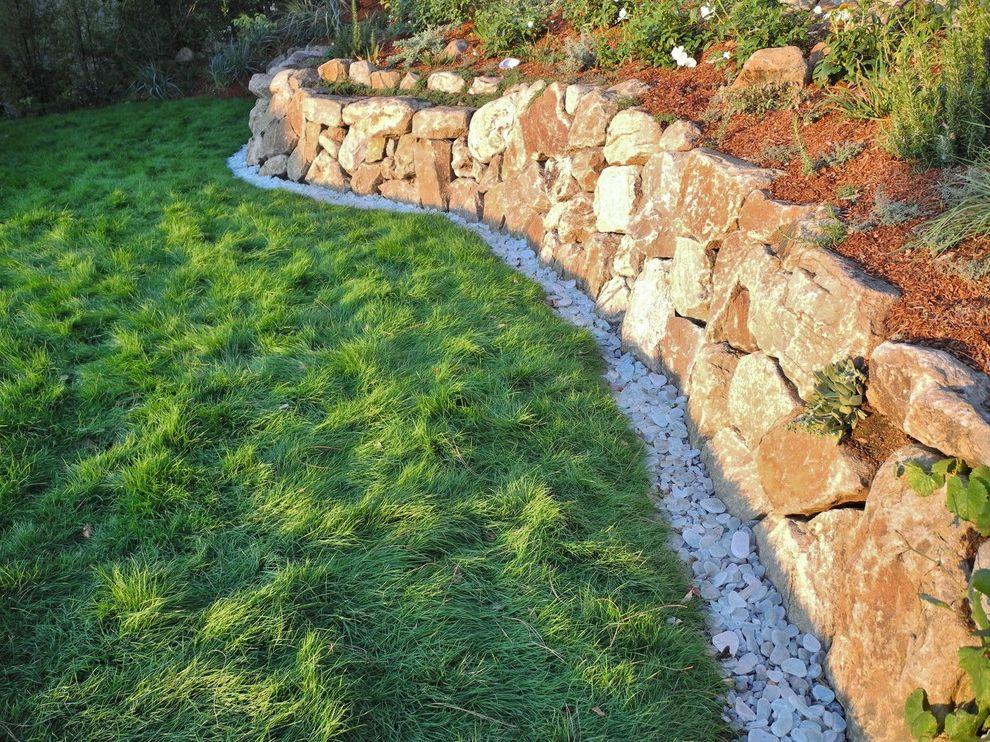 Delta Bluegrass   Modern Landscape  and Grass Green Landscape Stone Stone Wall Stones Stonework