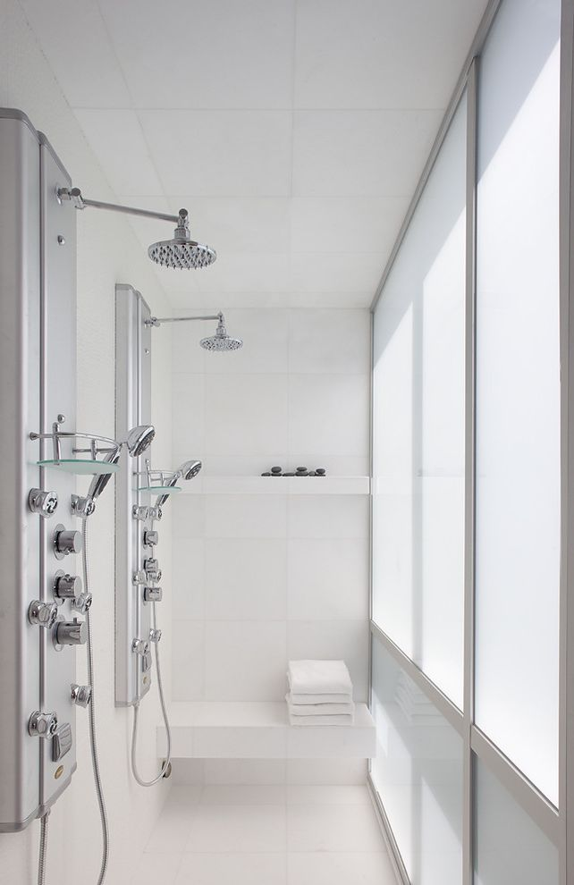 Delta Shower Systems   Modern Bathroom Also Double Shower Dual Shower Eco Friendly Flooring Floating Shelves Frosted Glass Seat Shower Bench Shower Heads Shower Panel Shower Room White White Tiles