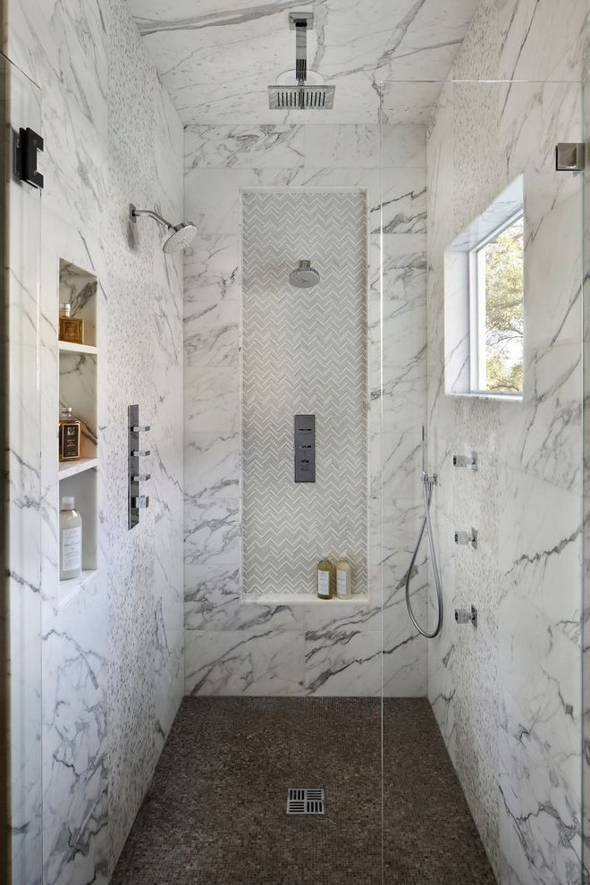 Delta Shower Systems   Traditional Bathroom Also Antique Mirror Barn Doors Calacatta Custom Vanity Free Standing Tub Gessi Herringbone Floor Marble Slab Porcelain Planking Tilting Mirror Tv at Vanity Vanity with Towel Storage