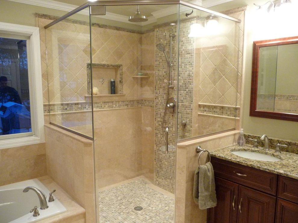 Delta Shower Systems with Traditional Bathroom  and Alcove Drop in Tub Enclosure Granite Master Bathroom Mirror Mosaic Mosaic Tile Nickel Window Rain Raised Panel Shower Tile Travertine Travertine Bathroom Travertine Tile