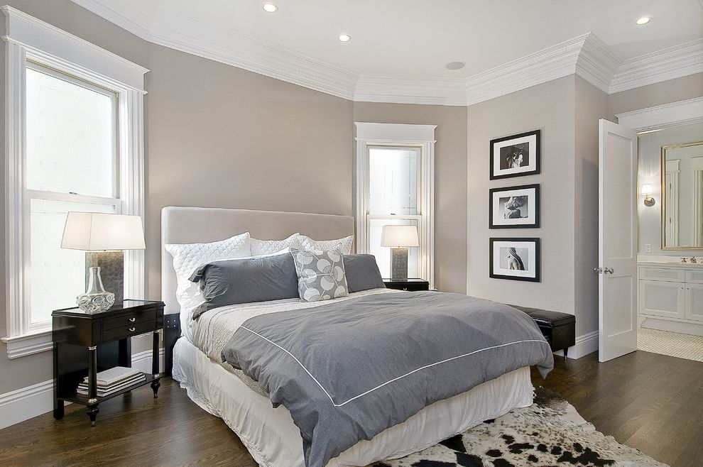 Difference Between Duvet and Comforter with Traditional Bedroom  and Artwork Bed Side Table Cow Hide Crown Molding Gray Gray Bedding Leather Bench Master Bath Night Stand White Trim
