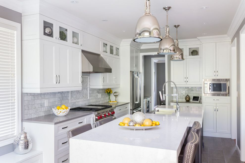 Dunmore Appliance with Traditional Kitchen Also Apron Front Sink Built in Microwave Butlers Pantry Chrome Classic Crown Moulding Custom Made Gray Countertop Pendant Lights Recessed Lighting Stacked Uppers Storage Waterfall Countertop White Countertop