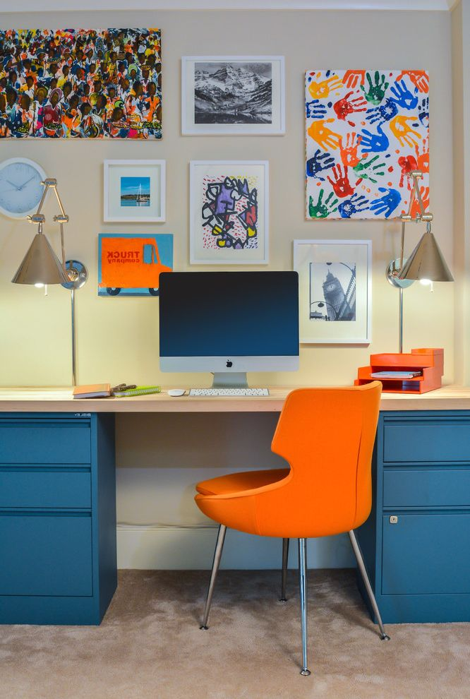 Easy Canvas Prints Reviews with Contemporary Home Office  and Beige Carpet Beige Countertop Beige Walls Blue Cabinets Framed Artwork Gallery Wall Kids Artwork Orange Accents Orange Chair Wall Clock Wall Sconces White Ceiling