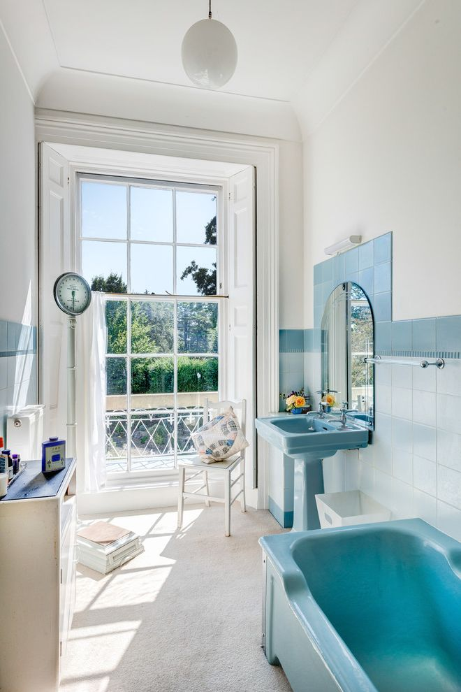 Eljer Toilets   Traditional Bathroom Also Ball Pendant Bathroom Scale Bathroom Window Blue Bath Tub Blue Bathtub Blue Pedestal Sink Blue Sink Blue Wall Tile Large Window Natural Sunlight Sash Window View White Chair White Floor White Pendant Light