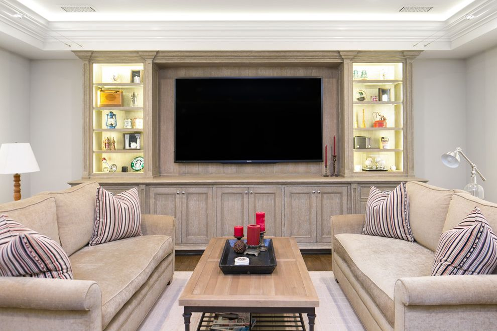 Entertainment Centers for Flat Screen Tvs   Transitional Living Room Also Beige Couch Beige Sofa Cabinet Lighting Cove Lighting Home Theater Tray Ceiling Wood Coffee Table Wood Floor