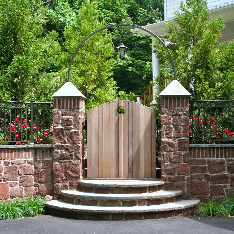 Esperanza Plant with Traditional Landscape Also Arbor Archway Entrance Entry Entry Gate Garden Entrance Garden Enty Garden Gate Lantern Outdoor Lighting Outdoor Stairs Secret Garden Stone Facade Stone Wall Wooden Gate