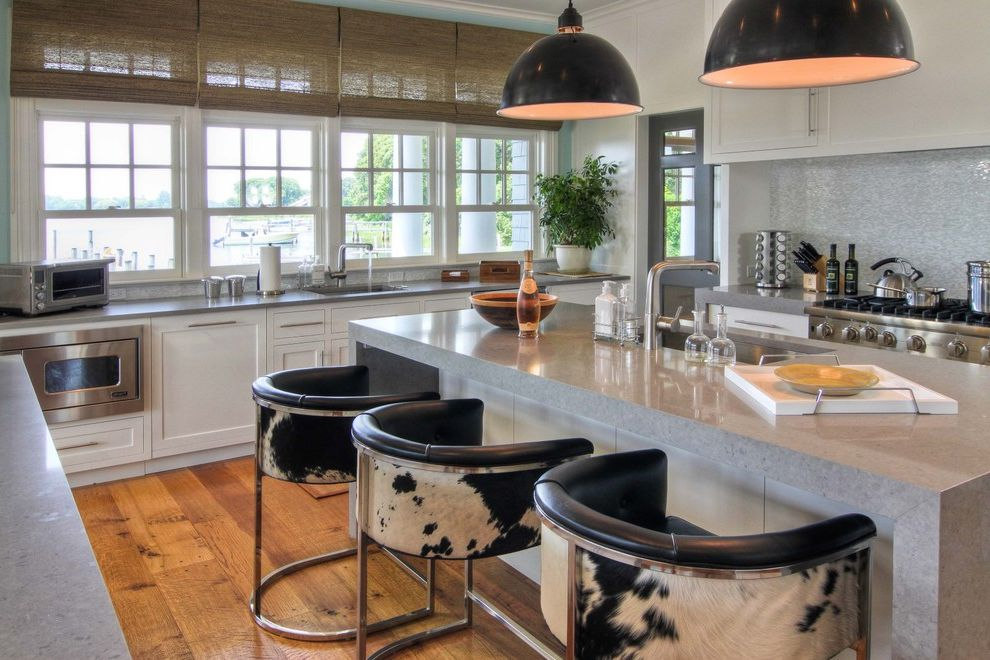 Espresso Sag Harbor   Beach Style Kitchen Also Black Pendant Lamp Cowhide Bar Stool Gray Counter Microwave Drawer Spice Rack Tile Backsplash Transom Waterfall Counter White Cabinet Woven Shades