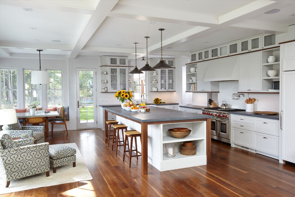 Espresso Sag Harbor   Beach Style Kitchen  and Banquette Beamed Ceiling Gray Countertop Open Shelves Patterned Armchairs Pendant Lights Sag Harbor Walnut Flooring White White Beams Wood Bar Stools