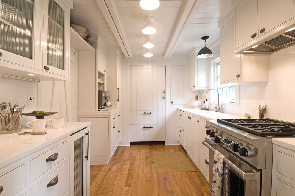 Espresso Sag Harbor with Rustic Kitchen  and Bin Pulls Ceiling Lights Coastal Cottage Espresso Machine Galley Kitchen Industrial Planks Rustic White Kitchen Wine Refrigerator Wood Floor