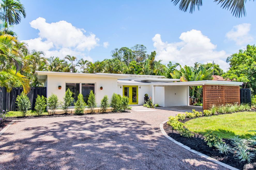 Fort Lauderdale Building Department with Midcentury Exterior Also Carport Flat Roof Front Door Gravel Driveway Lime Accent Color Lime Door Minimalist Palm Trees Small House Tropical Landscape Wood Slats