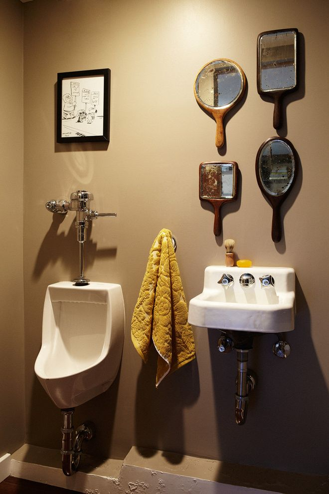 Four Hands Austin   Eclectic Powder Room  and Half Bath Hand Mirrors Man Cave Mirror Alternatives Urinal
