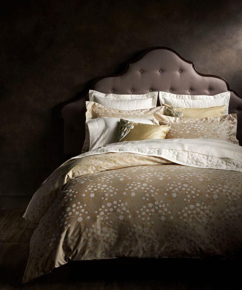 Frette Sheets   Contemporary Bedroom Also Gray Tufted Headboard Light Gold Bedding