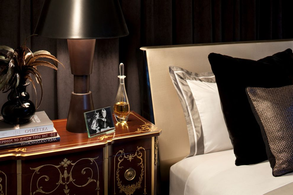 Frette Sheets with Contemporary Bedroom  and Beverly Hills Black Velvet Drape Bowie Damask Rug Encino Feathers Frette Fur Frette Sheets Hollywood Los Angeles Moura Starr Santa Monica Side Bar Silver Fox Velvet West Hollywood
