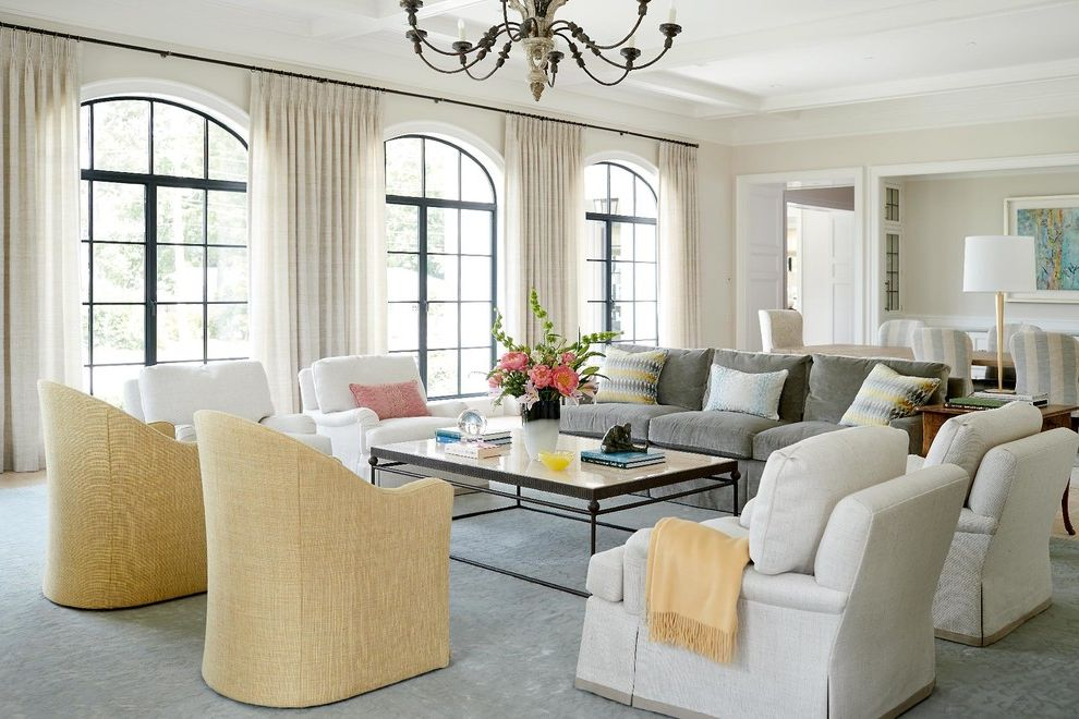 Furniture Stores in Greensboro Nc   Traditional Living Room Also Arched Window Armchairs Chandelier Coffee Tables Curtains Elegance Extra Large Area Rugs Floral Arrangement Glass Double Entry Doors Pillows and Throws Sofas Tabletop Accessories Vases