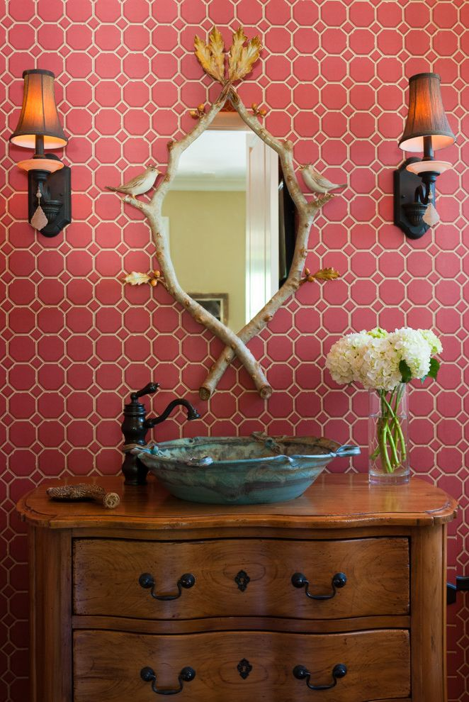Furniture Stores in New Orleans with Traditional Powder Room  and Bamboo Birds Faux Bois Mirror Floral Arrangement Pink Tile Wallpaper Pottery Sink Red Sconce Trellis Wallpaper Turquoise Twig Mirror Vessel Sink Vintage Vanity Wall Lighting