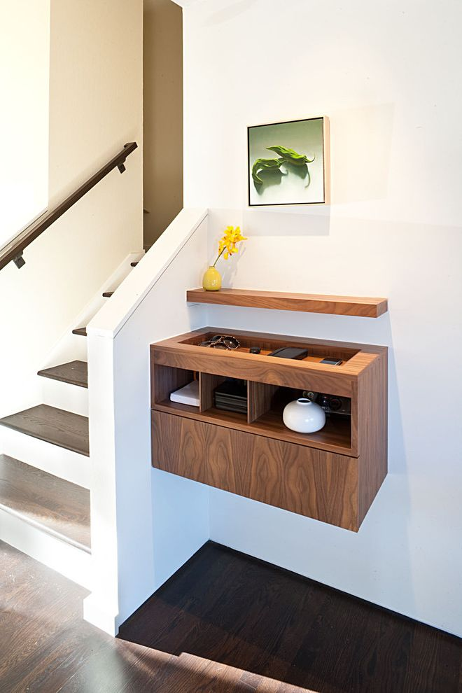 Furniture Stores Madison Wi   Midcentury Entry Also Cabinet Casework Floating Cabinet Floating Shelf Foyer Handrail Minimal Shelving Staircase Storage Vase Wall Decor Wall Hung Walnut Wood Wood Flooring Wood Railing