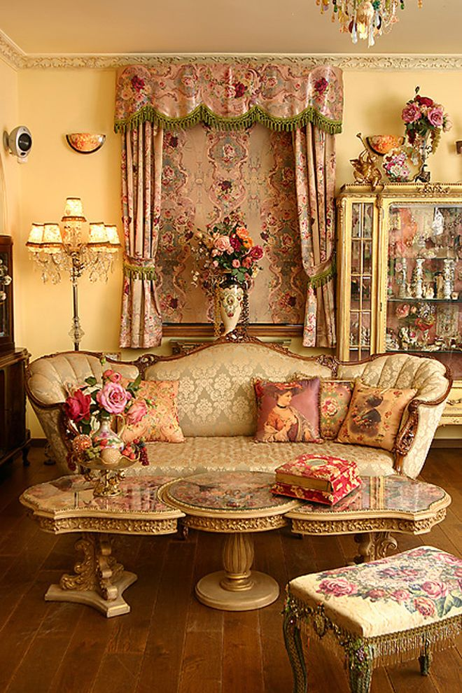 Furniture Stores Madison Wi   Victorian Living Room  and China Cabinet Chintz Crystal Floor Lamp Floral French Fringe Gold Needlepoint Ornate Ottoman Queen Anne Roses Settee Window Treatment Yellow