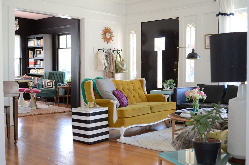 Furniture Stores Madison Wi with Eclectic Living Room  and Bright Colors Colorful Craftsman Eclectic Fort Worth Green Couch Misty Spencer My Houzz Sidelights Strong Contrast