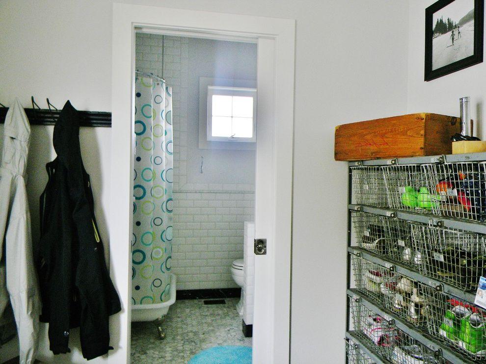 George Morlan Plumbing   Farmhouse Bathroom Also Entry Mud Room Pocket Door Shower Pan Vintage