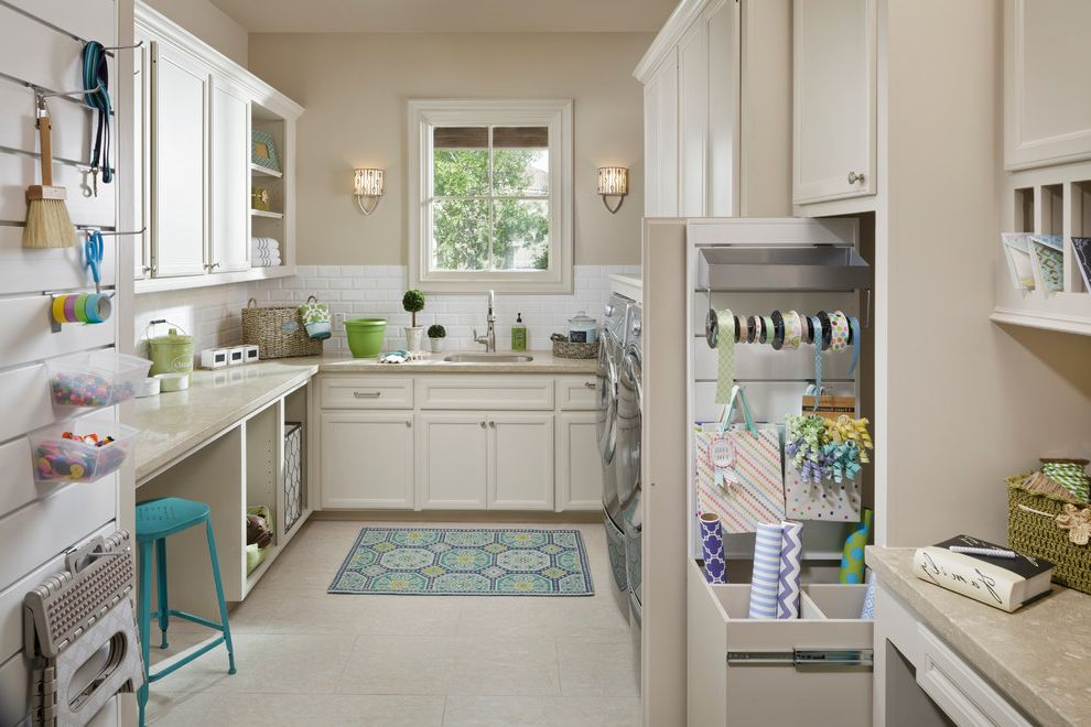 Good Housewarming Gifts   Traditional Laundry Room Also Craft Room Gift Wrapping Center Home Office Kichler Lighting Moms Office Proslat Wall Organizational Wall Sconce Window
