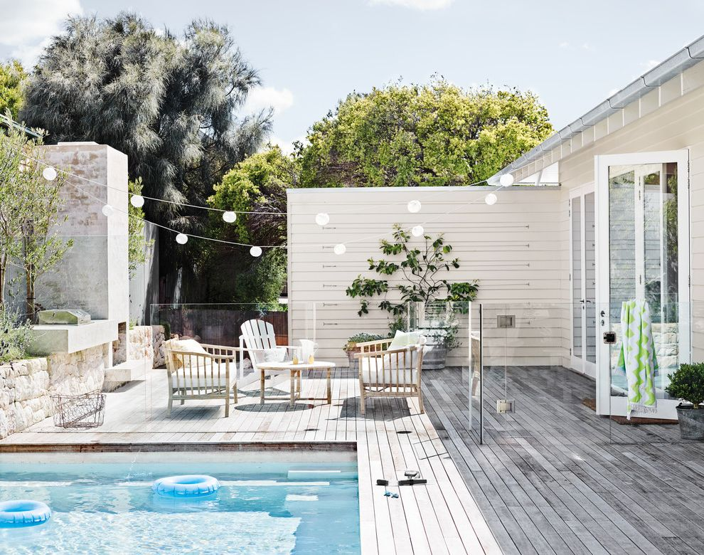 Good Housewarming Gifts with Beach Style Pool Also Bistro Lights Contemporary Paint Colour Deck Dulux Dulux Paint Glass Fence Modern Paint Colour Paint Colours