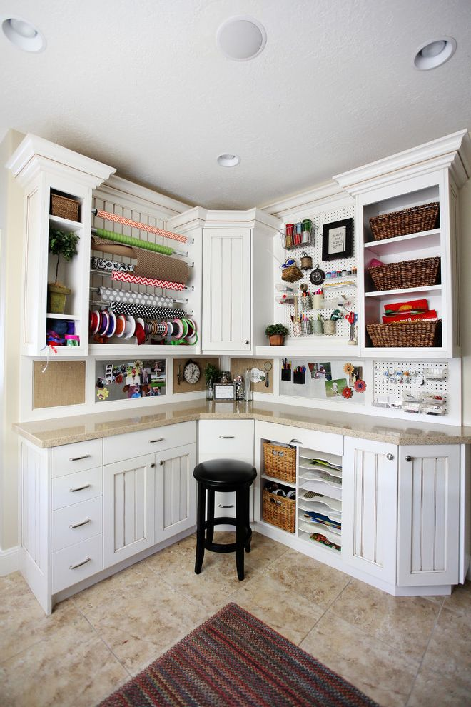 Good Housewarming Gifts with Traditional Home Office Also Corkboard L Shape Work Station Open Storage Rack Ribbon White Cabinets Wicker Baskets Wrapping Paper