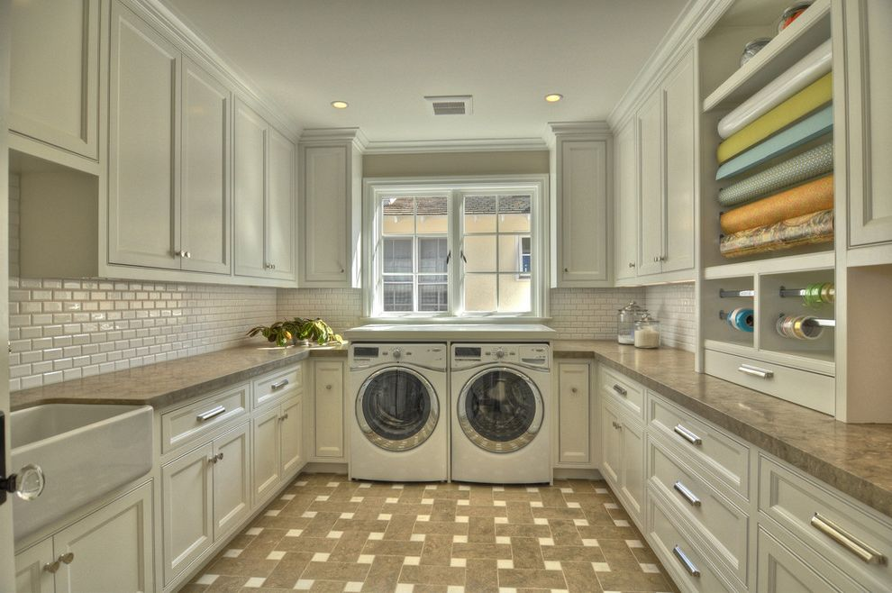 Good Housewarming Gifts with Traditional Laundry Room Also Apron Sink Basketweave Pattern Built in Storage Cabinet Hardware Casement Windows Farmhouse Sink Subway Tile White Cabinets Wood Cabinets Wrapping Paper Station