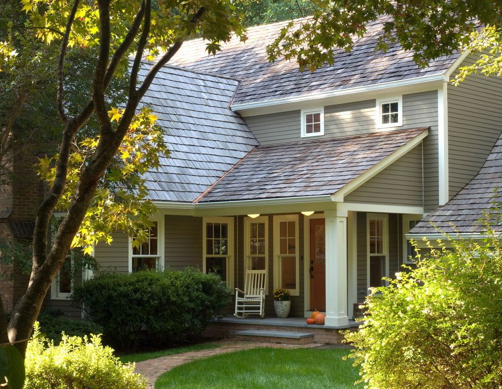 Hardy Board Siding   Traditional Exterior Also Brick Entry Exterior Front Porch Horizontal Siding Planting Porch Shingle Roof Shrubs Steps Traditional Walkway