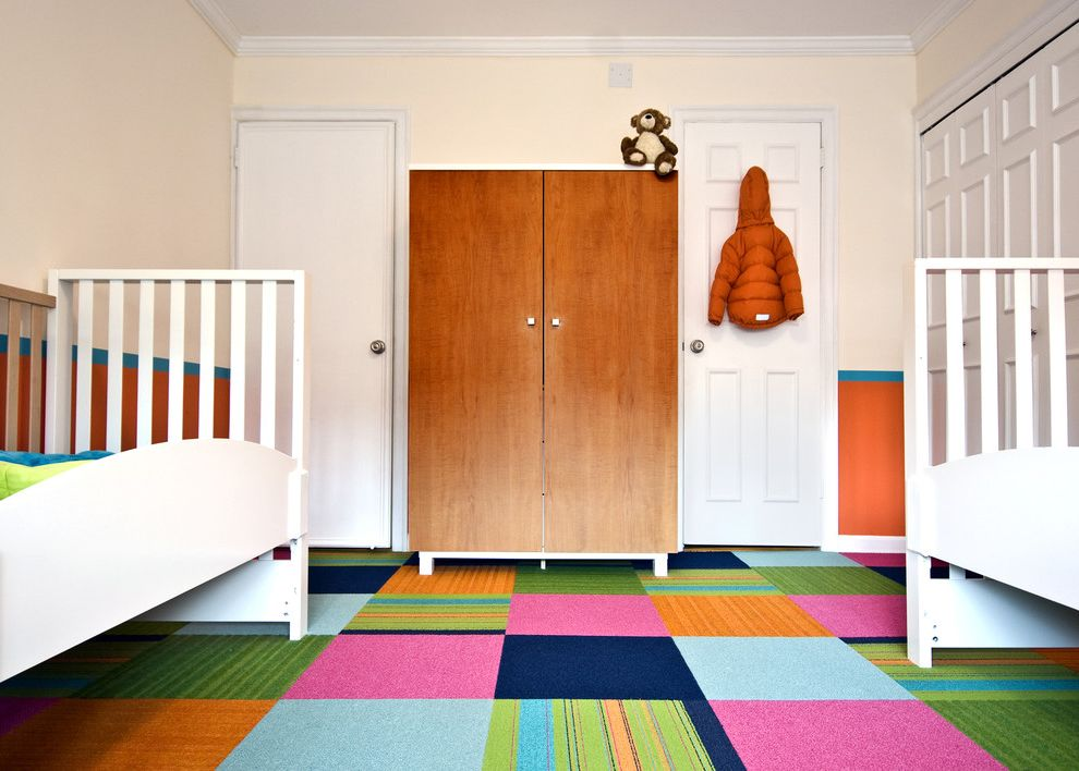 Home Depot Carpet Sale   Contemporary Kids  and Armoire Bedroom Bright Colors Carpet Tiles Closet Crown Molding Minimal Orange Wall Patchwork Carpet Twin Beds Wainscoting White Beds