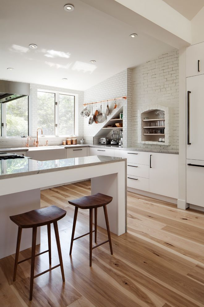 Home Depot Flooring Sale   Contemporary Kitchen  and Bar Stools Breakfast Bar Hickory Wide Plank Flooring High Contrast and Color Variation Wood Flooring Loft Style White Kitchen Pot Racks White Kitchen