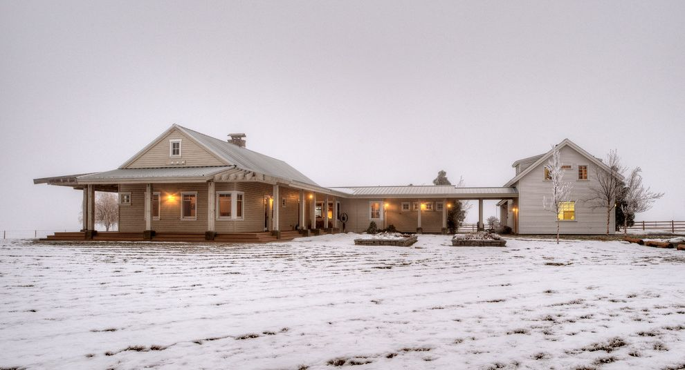 Houses in Sioux Falls   Farmhouse Exterior  and Beige Siding Breezeway Chimney Hood Farmhouse Gable Roof Metal Roof Modern Farm House Porch Snow Two Story House Winter