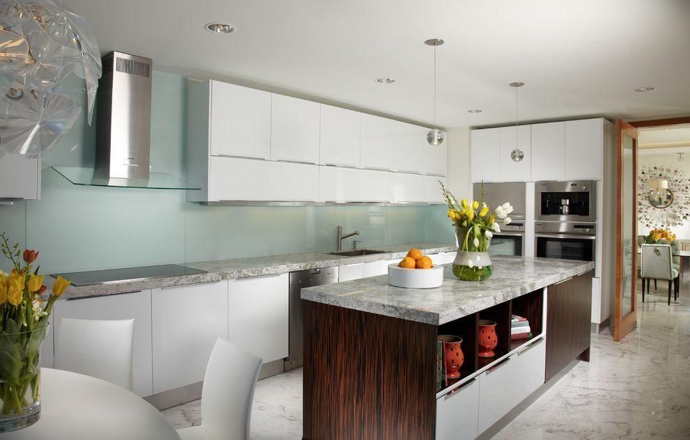 How Much Do Interior Designers Make   Contemporary Kitchen Also Flat Panel Cabinets Glass Sheet Backsplash Kitchen Dining Kitchen Island Kitchendining L Shaped Kitchen Range Hood Sage Backsplash White Cabinets