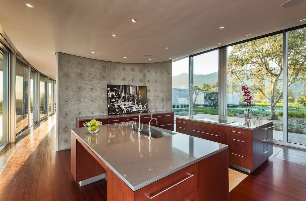 How to Clean Quartz Countertops   Modern Kitchen  and Cambria Ceiling Concrete Concrete Wall Curve Floor to Ceiling Window Gallery Hall Kitchen Cabinets Quartz Wood Floor