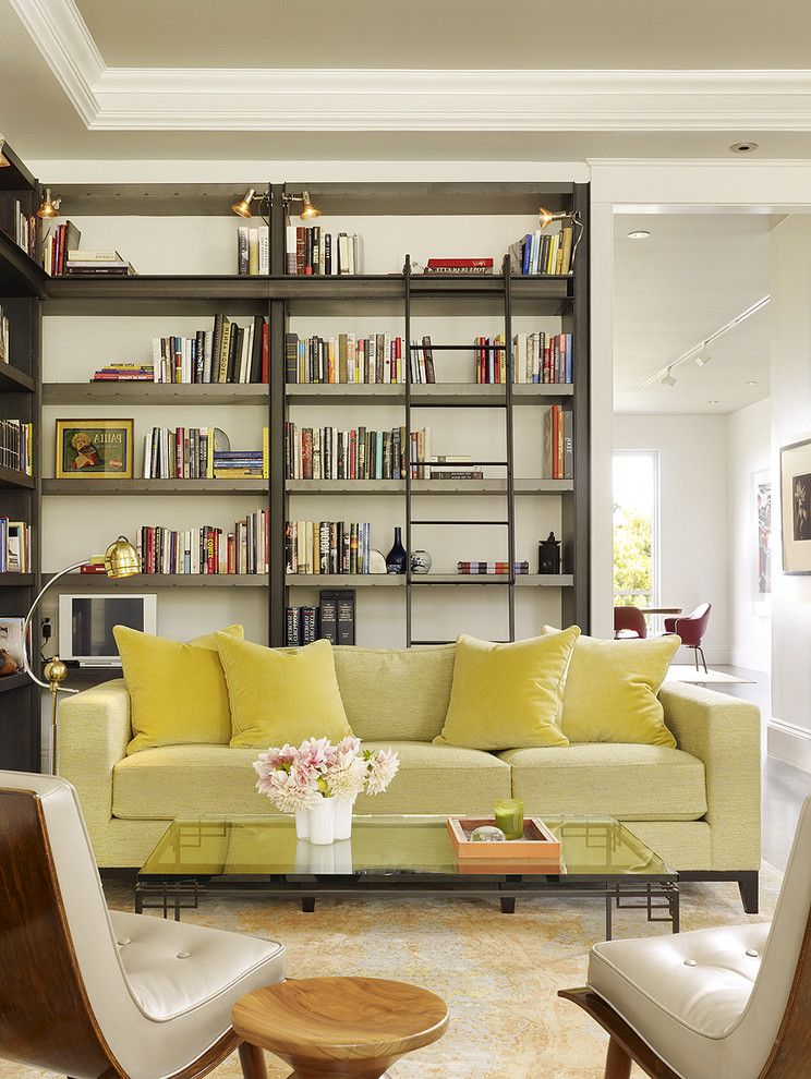 How to Get Rid of Fruit Flys   Transitional Living Room Also Armchairs Bookshelf Coffee Table Glass Table Library Shelves Sofa Vase Wood Side Table Wraparound Shelves Zinc Bookcase Zinc Ladder