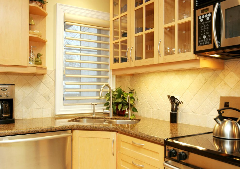 How to Use a Dishwasher with Contemporary Kitchen Also Backsplash Beige Blinds Butter Corner Cream Diamond Tiles Electric Range Family Friendly Glass Cabinets Granite Ivory Open Shelving Shutters Sink Stone Tiles Window Wood Cabinets